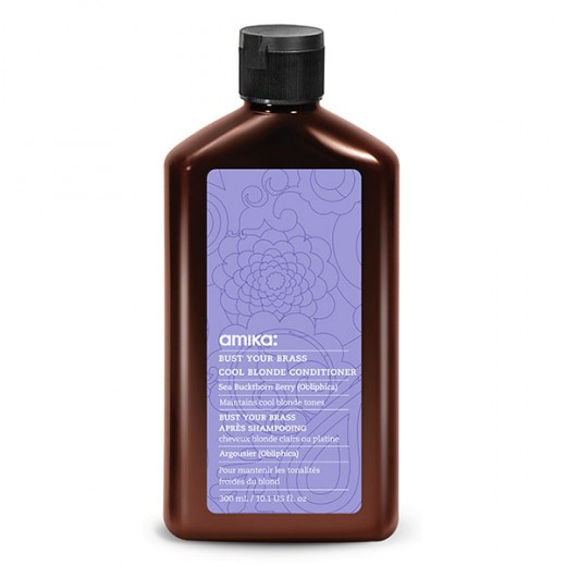 Après-shampooing cheveux Blond Clair ou Platine Amika Bust your brass 300 ml