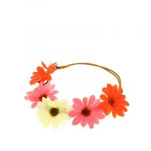 Queen Pam Headband élastique à fleurs rose orange et blanche, Head band