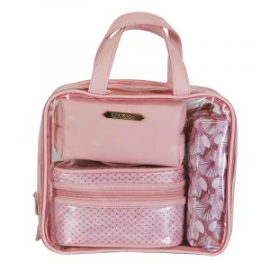 Parisax Set 4 trousses de beauté Rose 27x23x8cm, Trousse maquillage