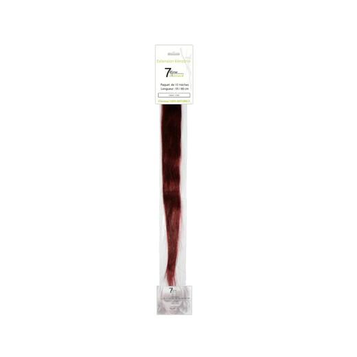 7eme élément Mèches extensions naturelles Chatain clair rouge irisé x10, Extension kératine