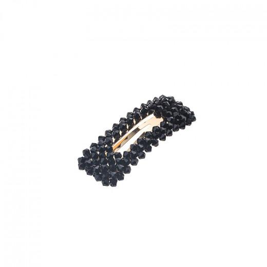 Atout Beauté Barrette clic-clac rectangulaire Cristal véritable Noire, Barrette