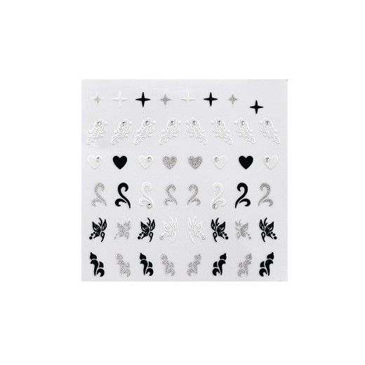Sticker décors ongles black & white collection peggy sage