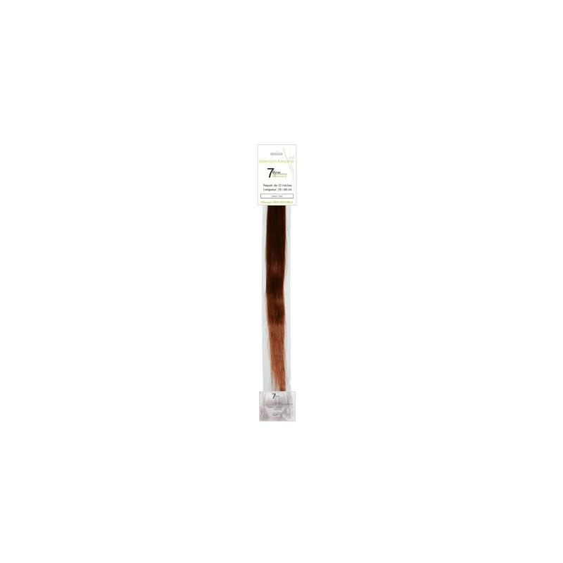 7eme élément Mèches extensions naturelles Blond clair cuivré irisé x10, Extension kératine