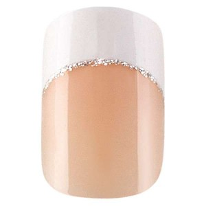 Peggy Sage Faux ongles idyllic nails Set x24 Silver french, Faux-ongles