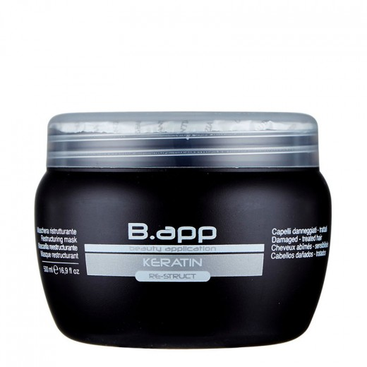 B-App Masque restructurant Re-struct kératine 500ML, Masque cheveux