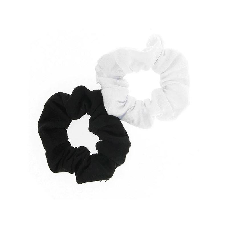 Queen Pam Chouchou tissu x2 Noir & blanc, Elastique