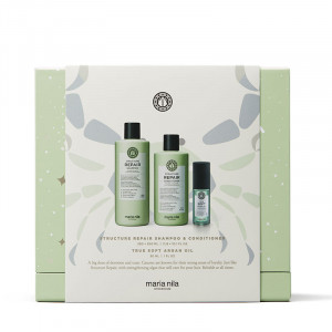 Maria Nila Holiday Box Structure Repair - Shampoing Conditioner & Huile, Coffret