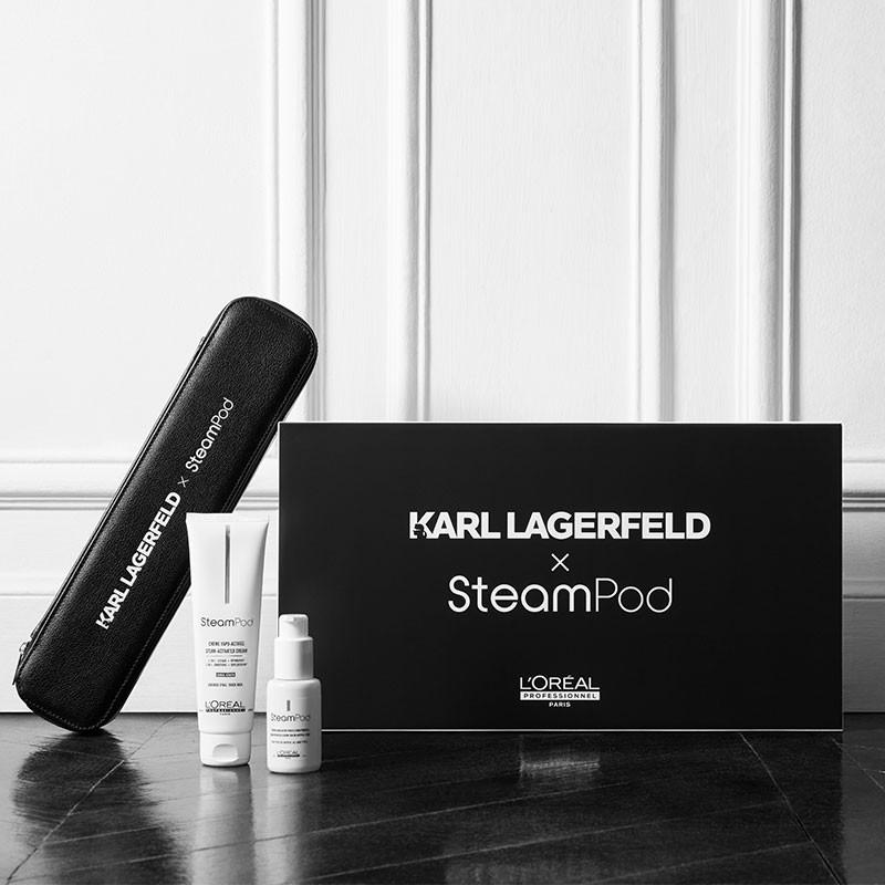 Pack Steampod 3.0 Karl Lagerfeld cheveux fins Lisseur 2-en-1 + étui Noir