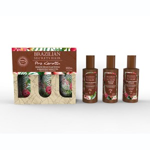 Brazilian Secrets Hair Kit lissage brésilien Pro Keratin (3x120ml) 360ML, Kit lissage brésilien
